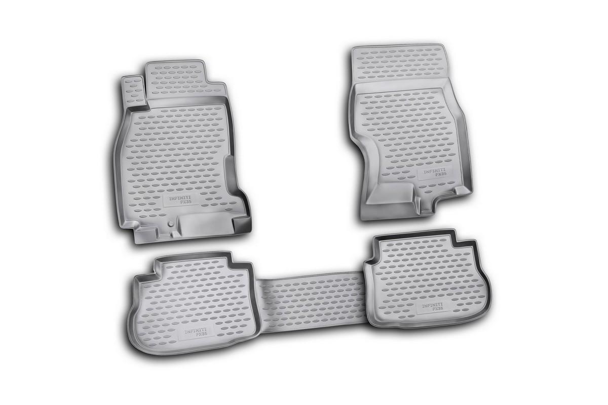 Набор автомобильных ковриков Novline-Autofamily для Infiniti FX35 2003-2009, в салон, цвет: черный, 4 штNLC.20.07.210Набор автомобильных ковриков Novline-Autofamily, изготовленный из полиуретана, состоит из 4 ковриков, которые учитывают все особенности каждой модели автомобиля и полностью повторяют контуры пола. Полиуретановые автомобильные коврики для салона произведены из высококачественного материала, который держит форму, прочный и не пачкает обувь. Коврики в салон не только улучшат внешний вид салона вашего автомобиля, но и надежно уберегут его от пыли, грязи и сырости, а значит, защитят кузов от коррозии. Полиуретановые коврики для автомобиля гладкие, приятные и не пропускают влагу. Ковры для автомобилей надежно крепятся на полу и не скользят, что очень важно во время движения. Чистятся коврики очень просто: как при помощи автомобильного пылесоса, так и различными моющими средствами. Набор подходит для InfinitiI FX35 2003-2009 годов выпуска.