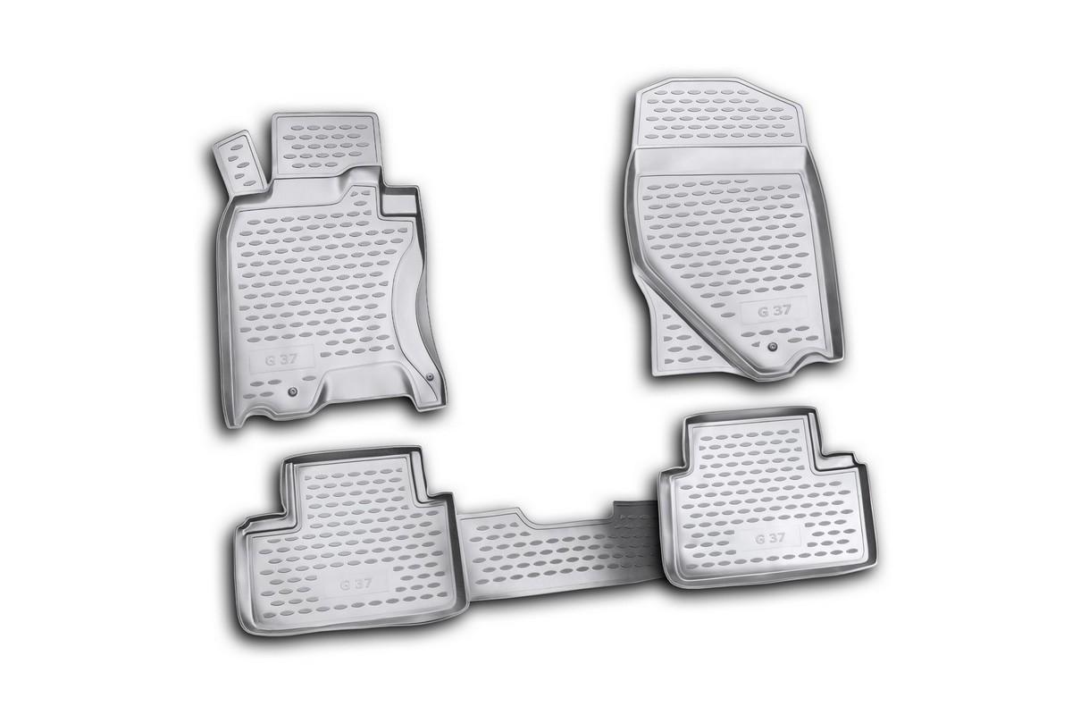 Набор автомобильных ковриков Novline-Autofamily для Infiniti G37X 2009-, в салон, 4 штDH2400D/ORНабор автомобильных ковриков Novline-Autofamily, изготовленный из полиуретана, состоит из 4 ковриков, которые учитывают все особенности каждой модели автомобиля и полностью повторяют контуры пола. Полиуретановые автомобильные коврики для салона произведены из высококачественного материала, который держит форму, прочный и не пачкает обувь. Коврики в салон не только улучшат внешний вид салона вашего автомобиля, но и надежно уберегут его от пыли, грязи и сырости, а значит, защитят кузов от коррозии. Полиуретановые коврики для автомобиля гладкие, приятные и не пропускают влагу. Ковры для автомобилей надежно крепятся на полу и не скользят, что очень важно во время движения. Чистятся коврики очень просто: как при помощи автомобильного пылесоса, так и различными моющими средствами. Набор подходит для Infiniti G37X с 2009 года выпуска.
