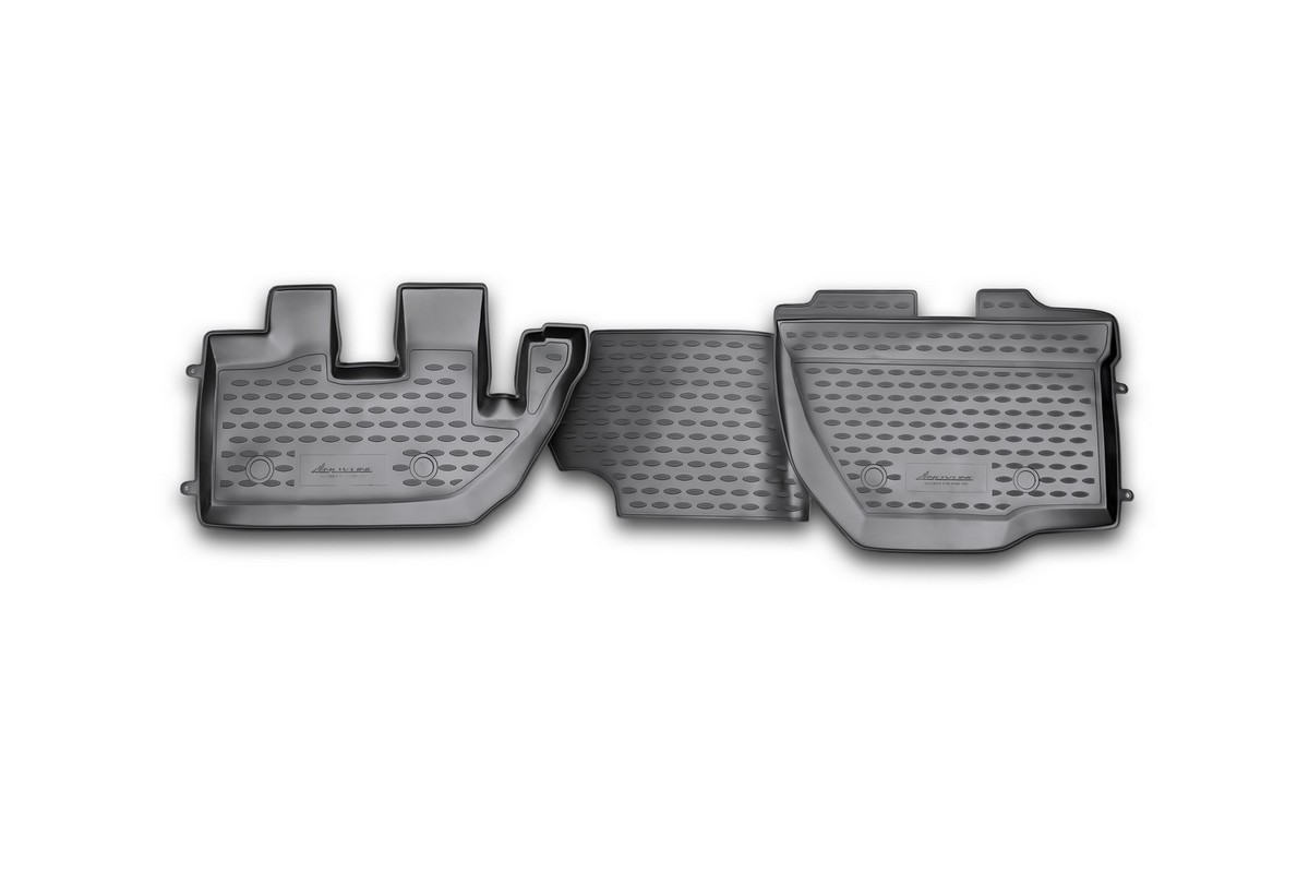 Набор автомобильных ковриков Novline-Autofamily для Hino 300 2010-, в салон, 2 штFS-80264Набор автомобильных ковриков Novline-Autofamily, изготовленный из полиуретана, состоит из 2 ковриков, которые учитывают все особенности каждой модели автомобиля и полностью повторяют контуры пола. Полиуретановые автомобильные коврики для салона произведены из высококачественного материала, который держит форму, прочный и не пачкает обувь. Коврики в салон не только улучшат внешний вид салона вашего автомобиля, но и надежно уберегут его от пыли, грязи и сырости, а значит, защитят кузов от коррозии. Полиуретановые коврики для автомобиля гладкие, приятные и не пропускают влагу. Ковры для автомобилей надежно крепятся на полу и не скользят, что очень важно во время движения. Чистятся коврики очень просто: как при помощи автомобильного пылесоса, так и различными моющими средствами. Набор подходит для Hino 300 с 2010 года выпуска.