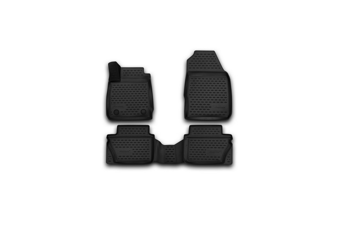Набор автомобильных 3D-ковриков Novline-Autofamily для Ford Fiesta, 2011-2015, 2015->, седан, хэтчбек, в салон, 4 штВетерок 2ГФНабор Novline-Autofamily состоит из 4 ковриков, изготовленных из полиуретана.Основная функция ковров - защита салона автомобиля от загрязнения и влаги. Это достигается за счет высоких бортов, перемычки на тоннель заднего ряда сидений, элементов формы и текстуры, свойств материала, а также запатентованной технологией 3D-перемычки в зоне отдыха ноги водителя, что обеспечивает дополнительную защиту, сохраняя салон автомобиля в первозданном виде.Материал, из которого сделаны коврики, обладает антискользящими свойствами. Для фиксации ковров в салоне автомобиля в комплекте с ними используются специальные крепежи. Форма передней части водительского ковра, уходящая под педаль акселератора, исключает нештатное заедание педалей.Набор подходит для Ford Fiesta седан, хэтчбек 2011-2015, 2015-> года выпуска.