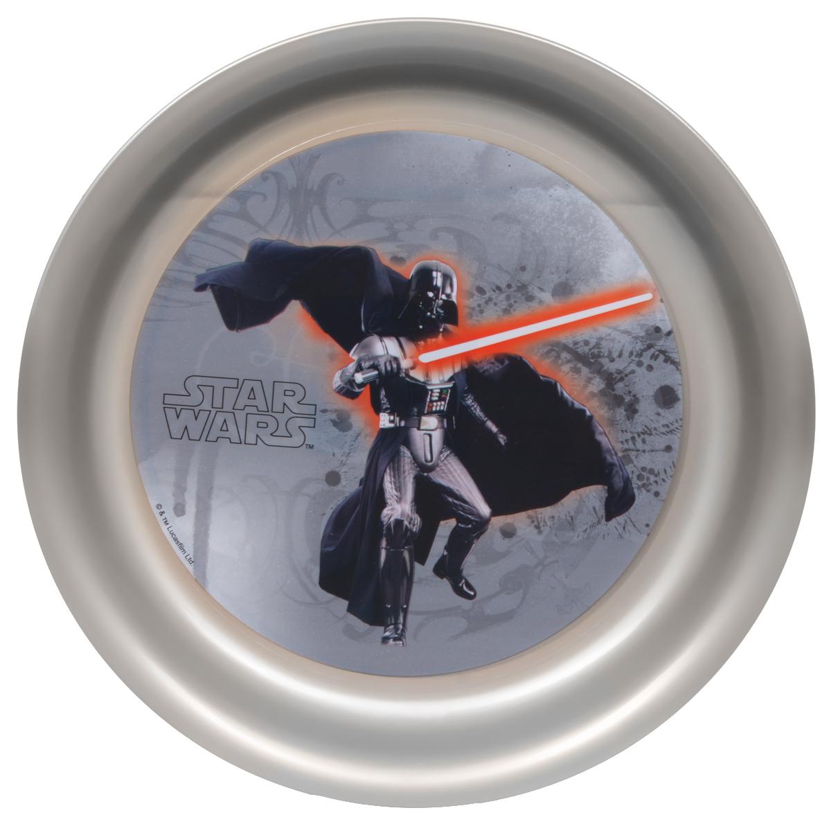 Star Wars Тарелка детская Дарт Вейдер диаметр 19 см115510Детская тарелка Star Wars Дарт Вейдер станет отличным подарком для любого фаната знаменитой саги. Она выполнена из полипропилена и оформлена рисунком с изображением Дарта Вейдера. Диаметр тарелки: 19 см. Не подходит для использования в посудомоечной машине и СВЧ-печи.