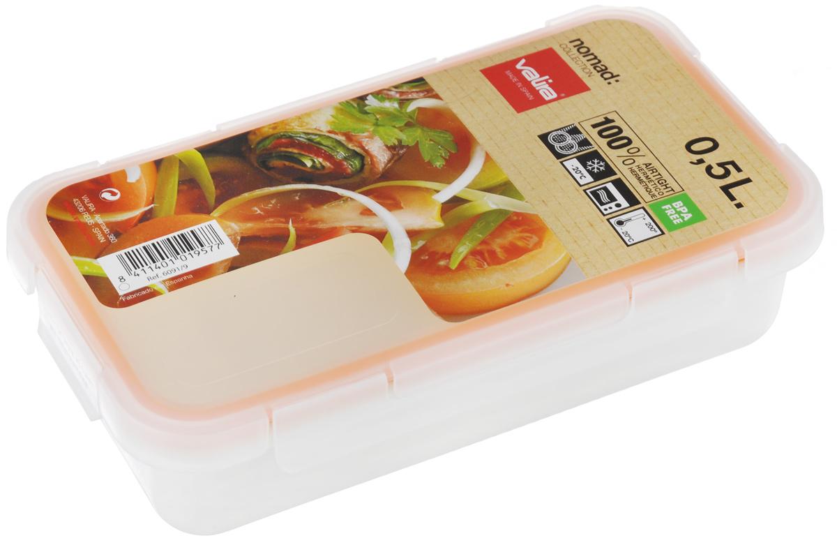 Контейнер пищевой Valira Nomad, цвет: белый, 0,5 лVT-1520(SR)Пищевой контейнер Valira Nomad - это надежный и удобный пищевой контейнер, выполненный из керамического пластика. Данный материал не содержит полипропилена, BPA и фталатов, что очень важно для здоровья. Контейнер оснащен крышкой с силиконовой прослойкой и защелками с четырех сторон. Полностью герметичен и водонепроницаем, отлично подходит даже для переноски жидких блюд. Не впитывает запахов и не окрашивается в цвет пищи, материал изделия приятен на ощупь. Контейнер подходит для ежедневного использования на работе или учебе, а также для отдыха на природе. Благодаря компактным размерам его удобно взять с собой в поездку или путешествие. Контейнер можно использовать для разогревания пищи в микроволновой печи, а также для замораживания продуктов до -20°С. Легко моется в посудомоечной машине.