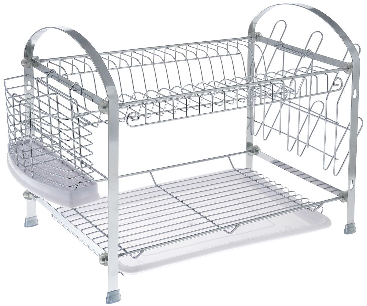 Сушилка для посуды Mayer & Boch, двухъярусная, с поддоном, 46 см х 24,5 см х 38 смFD-59Двухуровневая сушилка для посуды Mayer & Boch выполнена из хромированной нержавеющей стали и пластика. Изделие оснащено поддоном для стекания воды и подставками для столовых приборов и кружек. Сушилка может быть установлена как на столе, так и подвешена на стену при помощи крючков (не входят в комплект). Размер сушилки: 46 см х 24,5 см х 38 см.