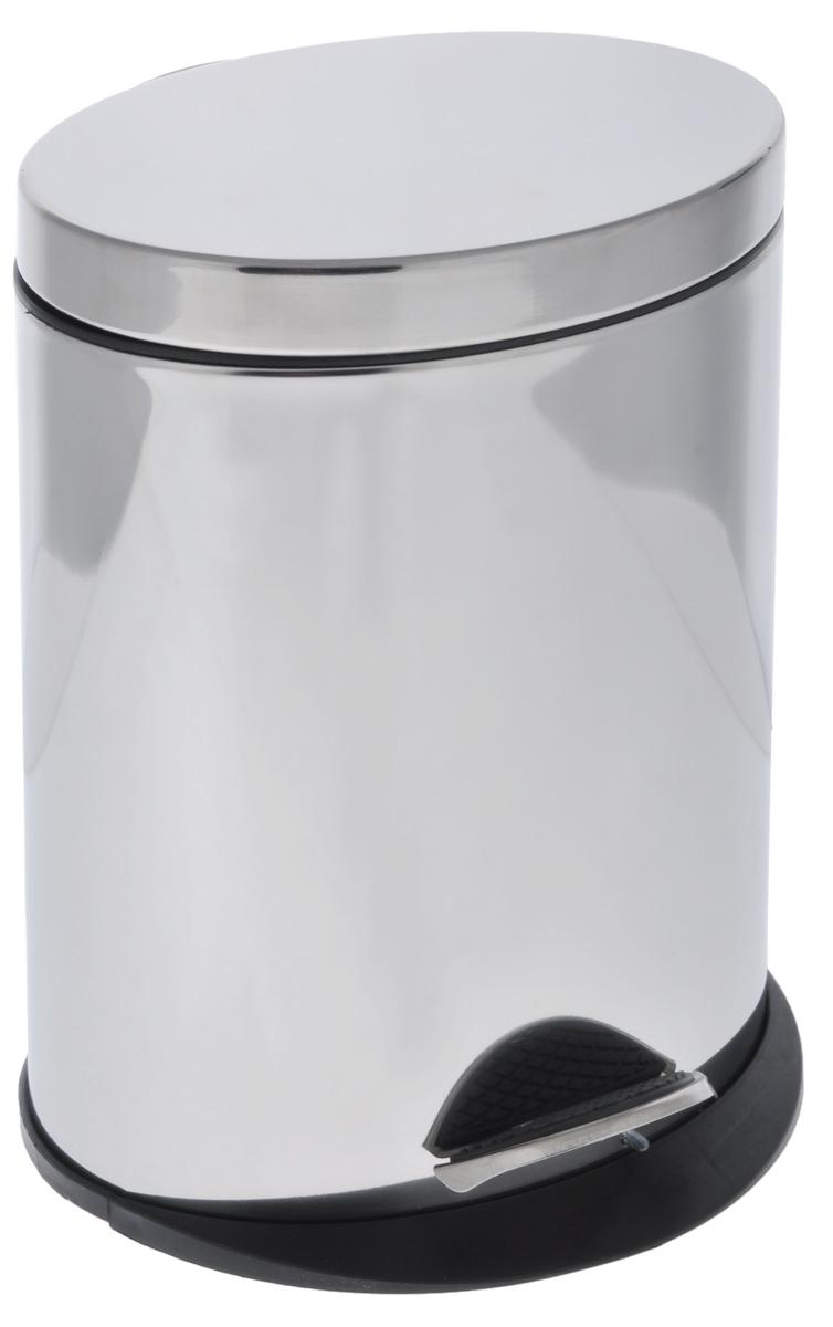 Ведро для мусора Art Moon Saturn, с педалью, 5 л790009Овальное ведро для мусора Art Moon Saturn, выполненное из нержавеющей стали с зеркальной поверхностью, поможет поддерживать дома чистоту. Ведро оснащено педалью, с помощью которой можно открыть крышку. Закрывается крышка бесшумно, плотно прилегает, предотвращая распространение запаха. Сбоку имеется металлическая ручка, которая фиксирует крышку в открытом положении. Ведро снабжено внутренним пластиковым ведром с удобной металлической ручкой для переноски. Нескользящая пластиковая основа ведра предотвращает повреждение пола. Благодаря стильному дизайну и качественному исполнению, ведро прекрасно впишется в интерьер помещения. Подходит для кухни, ванны, туалета, офисных помещений.