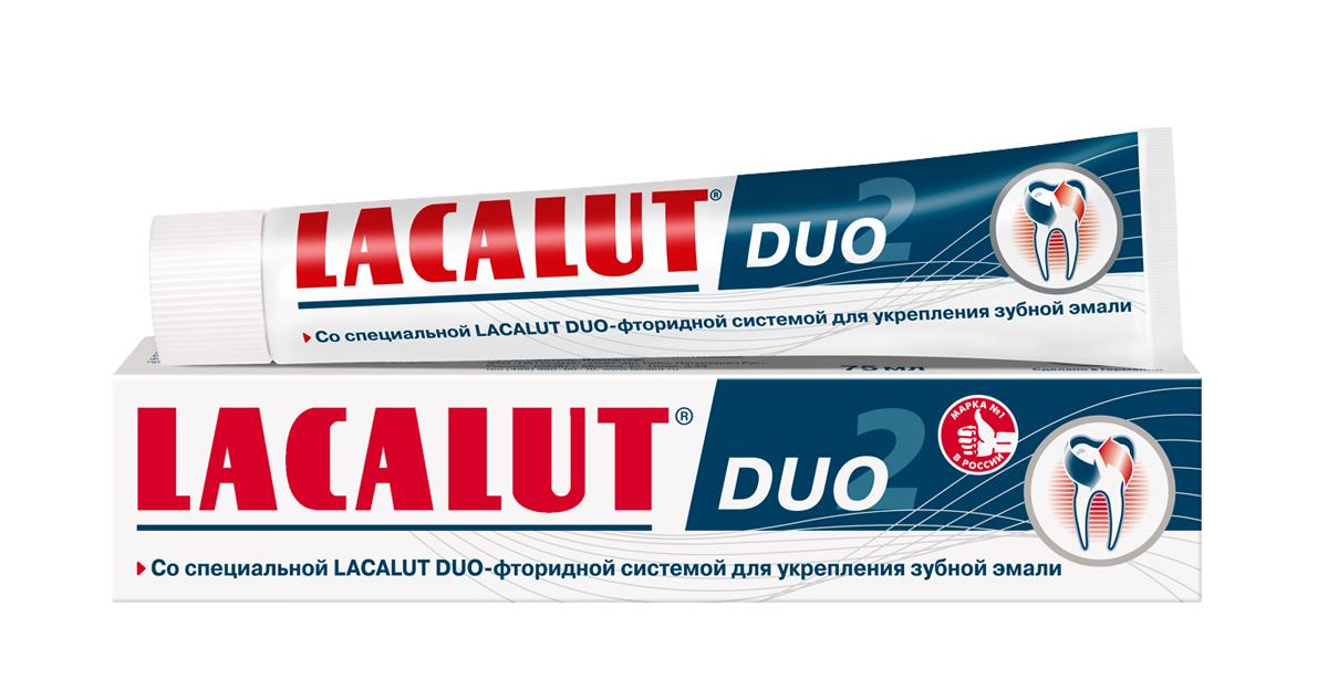 Lacalut Зубная паста Duo 75мл30414Зубная паста Lacalut Duo, 75мл.Со специальной Lacalut Duo-фторидной системой для укрепления зубнойэмали.Регулярное использование зубной пасты Lacalut Duo является эффективнымметодом профилактики кариеса.Благодаря специальной сбалансированной комбинации фторида натрия иаминофторида достигается быстрое проникновение и насыщение зубной эмалифтором.Способствует длительной и эффективной реминерализации и укреплениюэмали, повышает её резистентность к развитию кариеса.