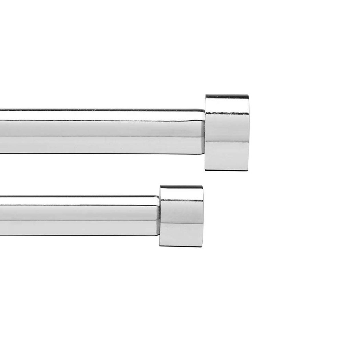 Карниз Umbra Cappa, двойной, 91-183 смSVC-300Двойной карниз для штор Cappa имеет телескопическую конструкцию, которая позволяет регулировать его длину, и металлические украшения в виде насадок по краям. Диаметр переднего карниза 1,9 см, заднего 1,6 см. Крепления идут в комплекте.