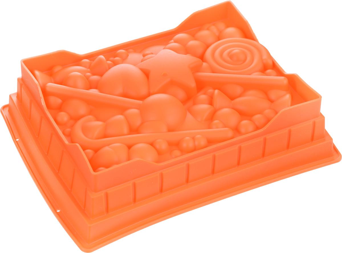 Форма для выпечки Mayer & Boch, силиконовая, цвет: оранжевый, 27 см х 22 см х 7 см391602Квадратная форма для выпечки Mayer & Boch изготовлена из силикона в виде различных сладостей и фигурок.Силикон - материал, который выдерживает температуру от -40°С до +230°С. Изделия из силикона очень удобны в использовании: пища в них не пригорает и не прилипает к стенкам, форма легко моется. Приготовленное блюдо можно очень просто вытащить, просто перевернув форму, при этом внешний вид блюда не нарушится. Изделие обладает эластичными свойствами: складывается без изломов, восстанавливает свою первоначальную форму. Порадуйте своих родных и близких любимой выпечкой в необычном исполнении. Подходит для приготовления в микроволновой печи и духовом шкафу при нагревании до +230°С; для замораживания до -40°.Можно мыть в посудомоечной машине.