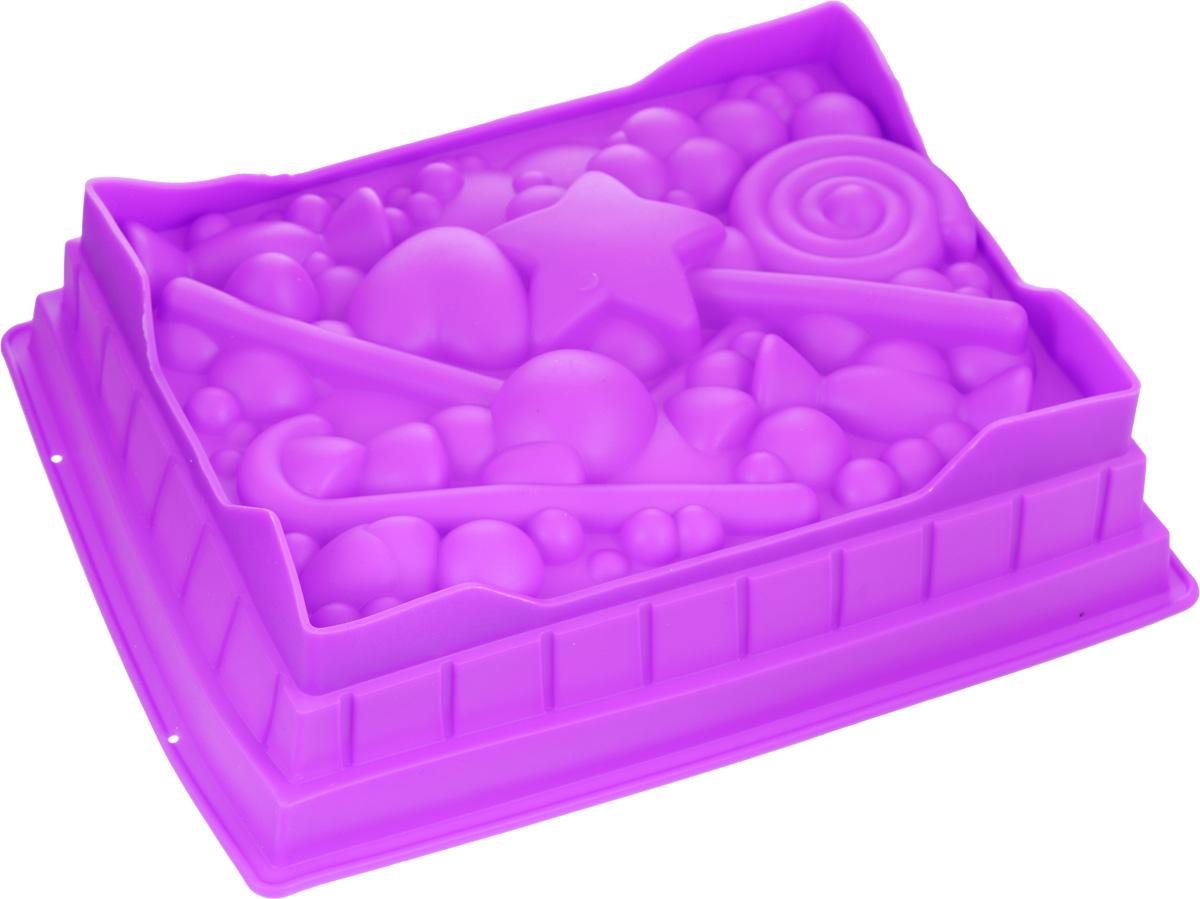 Форма для выпечки Mayer & Boch, силиконовая, цвет: фиолетовый, 27 х 22 х 7 см391602Прямоугольная форма для выпечки Mayer & Boch изготовлена из силикона в виде различных сладостей и фигурок.Силикон - материал, который выдерживает температуру от -40°С до +230°С. Изделия из силикона очень удобны в использовании: пища в них не пригорает и не прилипает к стенкам, форма легко моется. Приготовленное блюдо можно легко извлечь, просто перевернув форму, при этом внешний вид блюда не нарушится. Изделие обладает эластичными свойствами: складывается без изломов, восстанавливает свою первоначальную форму. Порадуйте своих родных и близких любимой выпечкой в необычном исполнении. Подходит для микроволновой печи и духового шкафа при нагревании до +230°С; для замораживания до -40°.Можно мыть в посудомоечной машине. Размер формы: 27 х 22 см.Высота формы: 7 см.