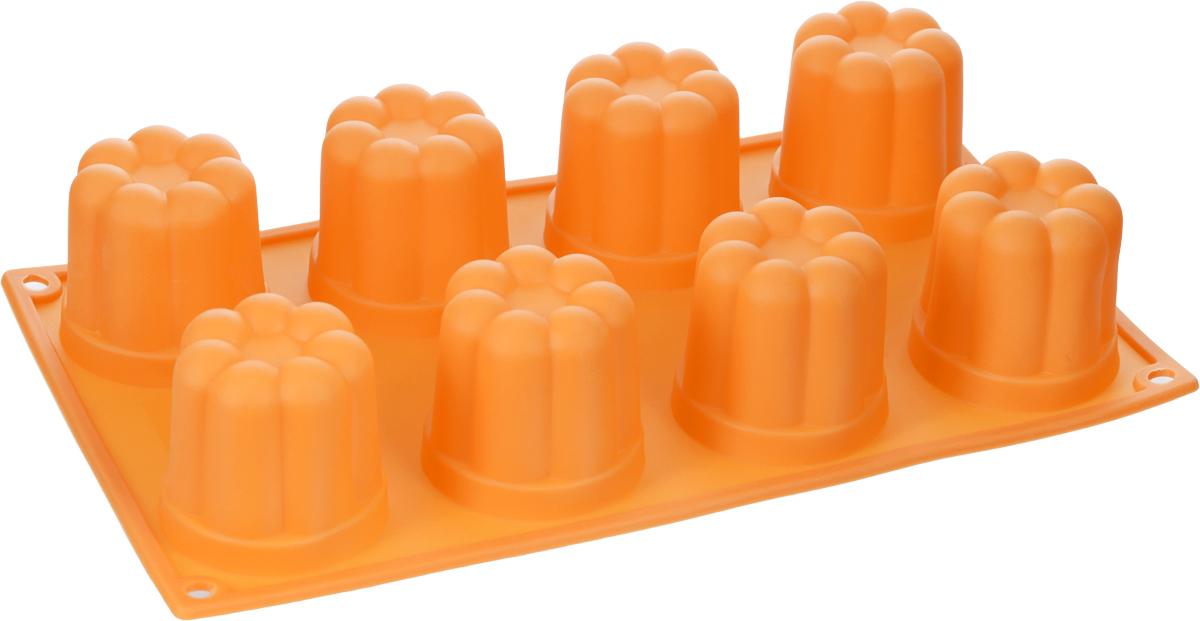 Форма для выпечки и заморозки Regent Inox Пуддинг, цвет: оранжевый, 8 ячеек93-SI-FO-35Форма для выпечки и заморозки Regent Inox Пуддинг состоит из 8 одинаковых ячеек. Силиконовая форма предназначена для изготовления конфет, мармелада, желе, льда, выпечки и другого. Оригинальный способ подачи изделий не оставит равнодушным родных и друзей. Силиконовые формы Regent Inox Silicone выдерживают высокие и низкие температуры (от - 40°С до + 230°С). Они эластичны, износостойки, легко моются, не горят и не тлеют, не впитывают запахи, не оставляют пятен. Силикон абсолютно безвреден для здоровья.Размер одной ячейки: 6 см х 6 см х 5 см.