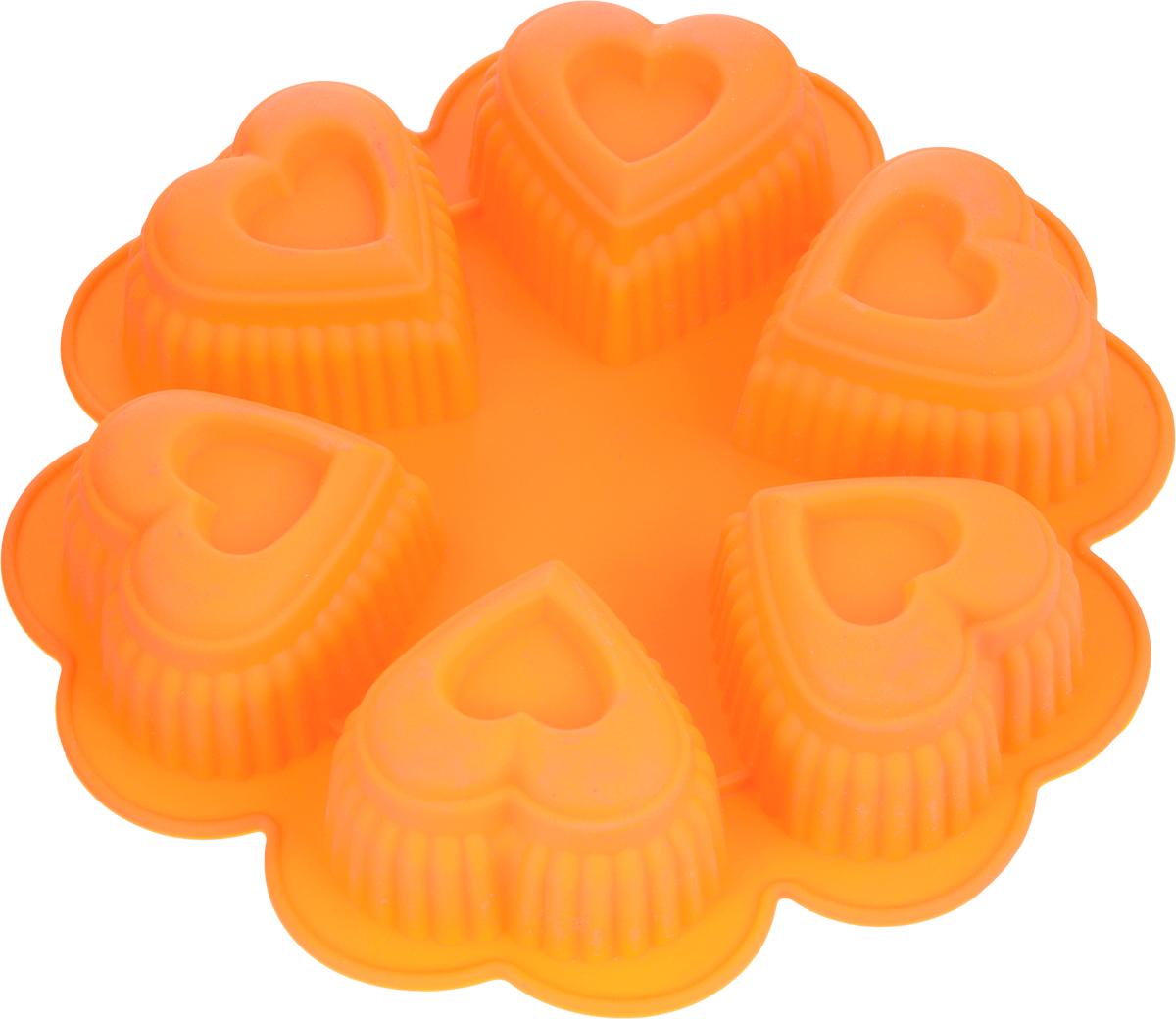 Форма для выпечки Marmiton Сердце, цвет: оранжевый, 25,5 х 25,5 х 5 см, 6 ячеек16027_оранжевыйФорма для выпечки Marmiton Сердце выполнена из силикона. На одном листе расположены 6 ячеек в виде сердец. Благодаря тому, что форма изготовлена из силикона, готовый лед, выпечку или мармелад вынимать легко и просто.Материал устойчив к фруктовым кислотам, может быть использован в духовках и микроволновых печах (выдерживает температуру от -40°С до 230°С). Можно мыть и сушить в посудомоечной машине.Общий размер формы: 25,5 х 25,5 х 5 см.Размер ячейки: 8 х 8 х 5 см.