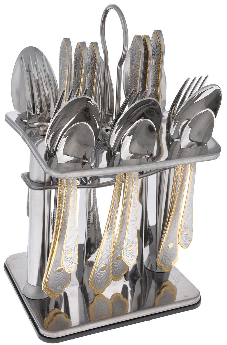 Набор столовых приборов Mayer&Boch, 25 предметов. 2310308930241600E16Набор столовых приборов Mayer & Boch выполнен из прочной нержавеющей стали. В набор входит 25 предметов: 6 обеденных ножей, 6 обеденных ложек, 6 обеденных вилок, 6 чайных ложек и подставка. Ручки приборов украшены красивым рельефным узором с матовым покрытием и золотистой окантовкой. Предметы набора расположены на подставке из стали. Подставка оснащена удобной ручкой для переноски. Столовые приборы высокого качества будут доставлять вам удовольствие при каждом приеме пищи. Они подойдут как для повседневного использования, так и для торжественных случаев. Можно мыть в посудомоечной машине. Длина столовой ложки/вилки: 20 см. Длина чайной ложки: 14 см. Длина ножа: 22,5 см. Размер подставки: 15,5 см х 13 см х 26 см.