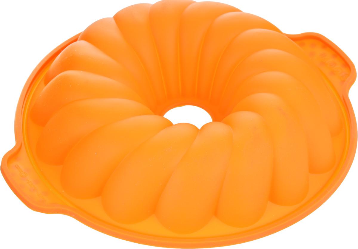 Форма для выпечки Marmiton Кекс, цвет: оранжевый, диаметр 25 см16030_оранжевыйФигурная форма для выпечки Marmiton Кекс будет отличным выбором для всех любителей бисквитов и кексов. Благодаря тому, что форма изготовлена из силикона, готовый лед, выпечку или мармелад вынимать легко и просто.С такой формой вы всегда сможете порадовать своих близких оригинальной выпечкой. Материал устойчив к фруктовым кислотам, может быть использован в духовках, микроволновых печах и морозильных камерах (выдерживает температуру от 230°C до - 40°C). Можно мыть и сушить в посудомоечной машине.Диаметр формы по верхнему краю: 25 см.Общий размер формы (с учетом ручек): 29 см х 25 см х 5 см.