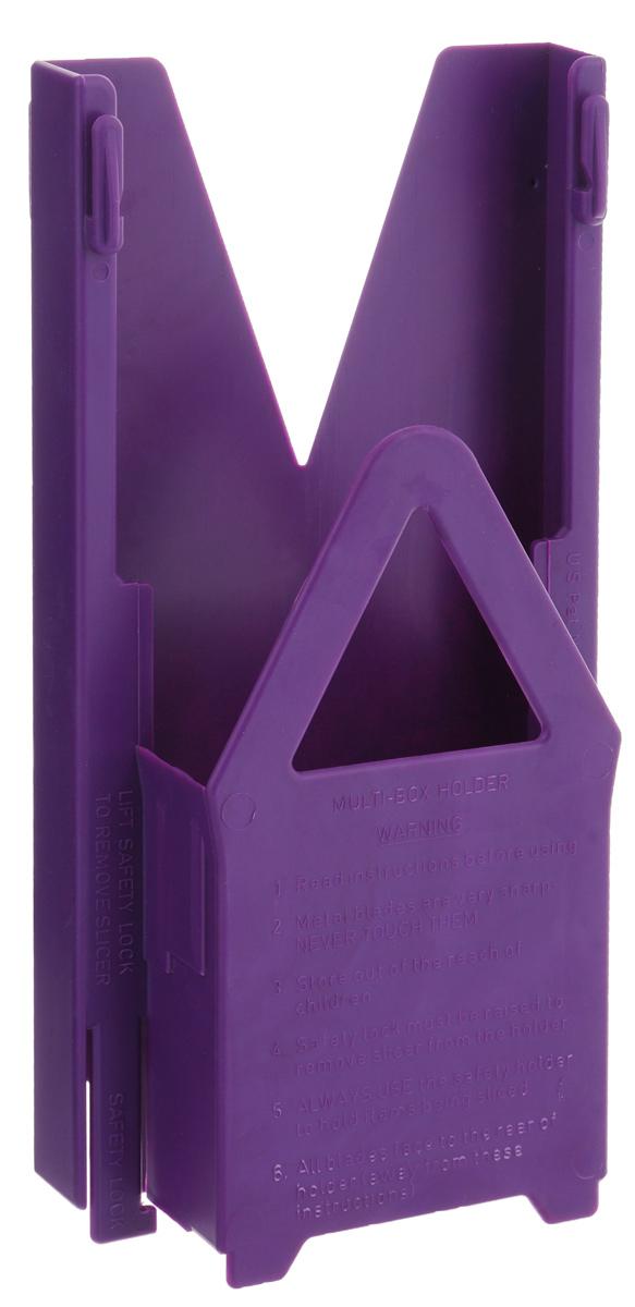 Мультибокс Borner Classic, цвет: сиреневый22438Мультибокс Borner Classic - очень важный аксессуар для хранения основного (базового) комплекта овощерезки модели Classic (V-рама + три вставки + плододержатель). Изделие выполнено из пищевого пластика. Овощерезку в мультибоксе можно повесить на стену или поставить на стол. Мультибокс имеет стоп-фиксатор, не позволяющий маленькому ребенку вытащить из него основную раму с острыми ножами.