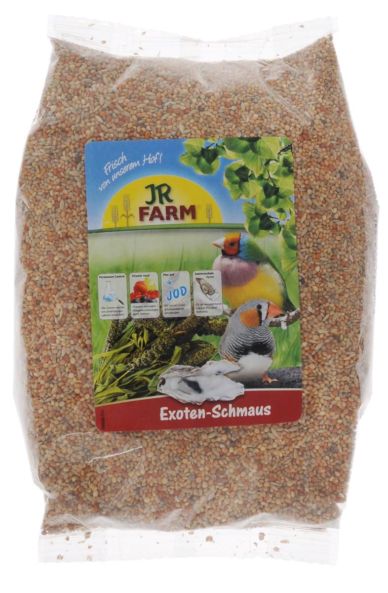 Корм для экзотических птиц JR Farm Classic, 1 кг25536Корм для экзотических птиц JR Farm Classic - это полностью сбалансированный корм, в состав которого добавлены раковины устриц для обеспечения кальций-форфорного баланса, а также все необходимые витамины и микроэлементы, что гарантирует отсутствие недостатка в них. Подходит для всех зябликов, вьюрков, амадин.Рекомендации по кормлению: ежедневно насыпайте корм в количестве 5% от массы тела птицы.Состав: сенегальское просо, Ла-Плата просо, Манна просо, японское просо, канареечное семя, красное просо, серебряное просо, раковины устрицы (2 %). Основной анализ: белок 11.3 %, жиры 3.9 %, клетчатка 3.7 %, зола 3.5 %, влажность 11.4 %, кальций 0.8 %, фосфор 0.4 %. Содержание витаминов/кг: витамин А 8000 МЕ, витамин D3 1000 МЕ, витамин E 25 мг, медь (II) сульфат 10 мг, йод 0.4 мг. Без искусственных красителей и консервантов.Товар сертифицирован.