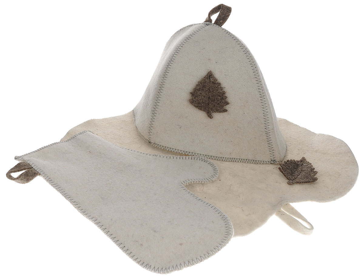 Набор подарочный для бани и сауны Главбаня, цвет: бежевый, 3 предмета. Б15161103Подарочный набор для бани и сауны Главбаня, изготовленный из шерсти и полиэфира, состоит из шапки, рукавицы и коврика. Коврик используется в качестве подстилки на пол или скамейки, он убережет вас от ожогов и воздействия на кожу высоких температур. Шапка - незаменимый атрибут в бане, она предотвращает сухость и ломкость волос, а также защищает от головокружения. Шапка и коврик декорированы объемной фигуркой в виде листочка. Все предметы набора имеют специальную петельку для подвешивания.Такой набор поможет с удовольствием и пользой провести время в бане, а также станет чудесным подарком друзьям и знакомым, которые по достоинству оценят его при первом же использовании.Размер коврика: 44 см х 32 см.Обхват головы: 66 см.Высота шапки: 25 см.Размер рукавицы: 28 см х 22,5 см.