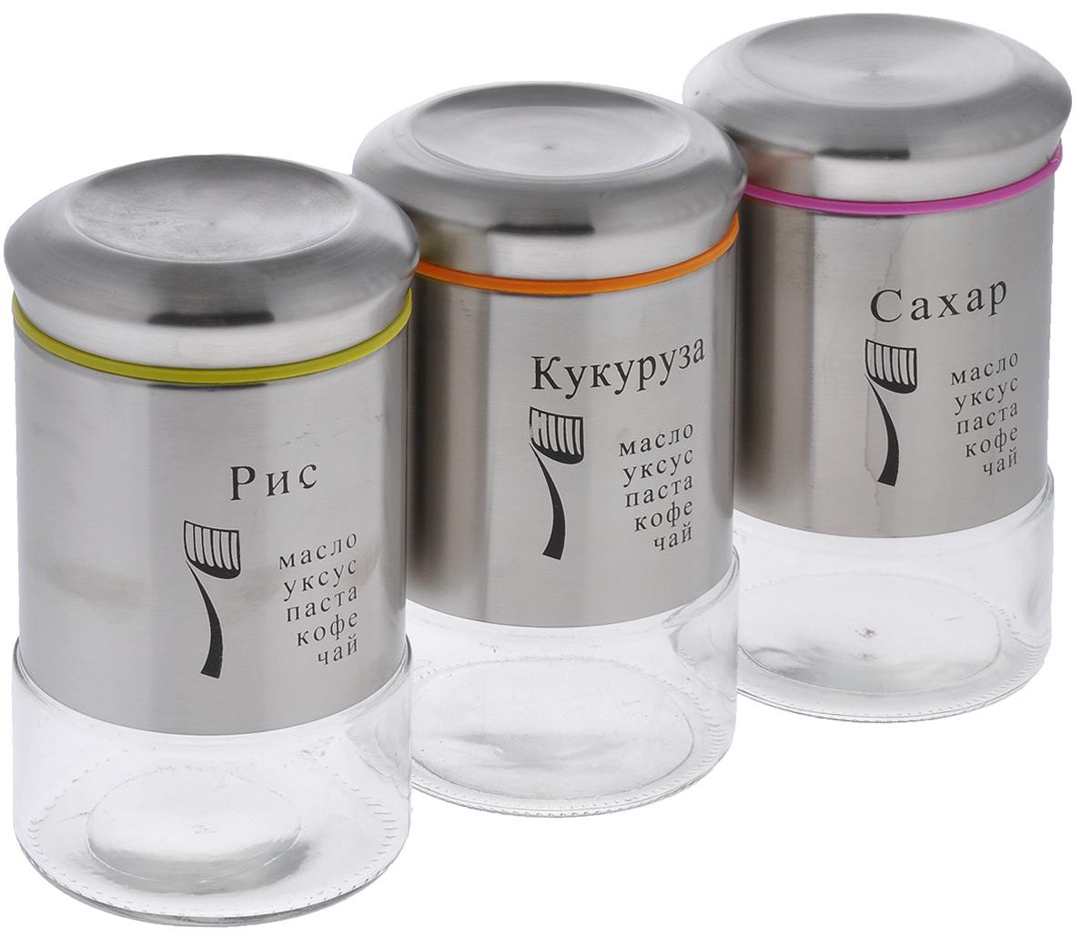 Набор банок для сыпучих продуктов Mayer & Boch, 6 предметовVT-1520(SR)Набор банок Mayer & Boch изготовлен из первоклассной нержавеющей стали и стекла. Емкости можно наполнять любыми, используемыми Вами специями. Плотное закрытие крышки помогает сохранить свежесть и аромат содержимого, при этом не позволяет проникновение влаги. Такие банки обеспечат длительную сохранность ваших продуктов, а также безопасность от грызунов и насекомых. Диаметр банок (по верхнему краю): 8,5 см.Высота банок (без учета крышки): 17,7 см. Объем банок: 750 мл. Количество банок: 3 шт.