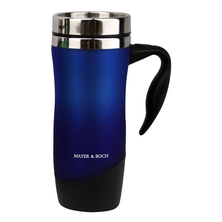Термокружка Mayer & Boch, цвет: синий, 480 млVT-1520(SR)Герметичная термокружка Mayer & Boch удобна для использования в быту, походе и путешествиях. Подходит для горячих и холодных напитков. Оснащена крышкой с системой быстрого открывания для легкого питья. Внешняя стенка выполнена из высококачественного пластика, внутренняя из нержавеющей стали. Ручка и крышка - полипропилен.Диаметр по верхнему краю: 8 см.Диаметр дна: 6,5 см.Высота: 21 см.