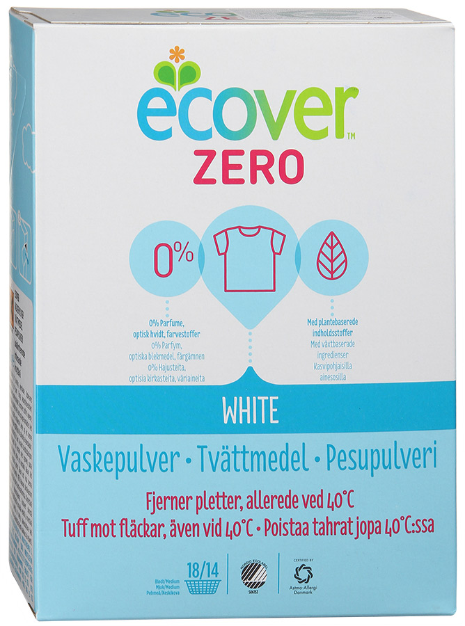 Экологический стиральный порошок Ecover Zero, для белого белья, 750 г40019Совершенно новый ультраконцентрированный гипоаллергенный универсальный стиральный порошок Ecover Zero для белого и нелиняющего цветного белья, созданный 100% на растительной и минеральной основе. Идеально подходит для беременных женщин, младенцев, детей и взрослых, склонных к аллергии и кожным заболеваниям. Сертифицирован Nordic Ecolabel, Danish Asthma-Allergy Association и Allergy UK, дерматологически протестирован. Улучшенная формула порошка Ecover Zero содержит небольшое количество бережного кислородного отбеливателя, который прекрасно удаляет пятна на одежде даже при стирке на низких температурах (30°С). Великолепно выполаскивается. Экономичный ультраконцентрат позволяет использовать меньше порошка и обеспечивает на 50% больше стирок! При машинной стирке не требуется добавление средств для смягчения воды и предотвращения образования накипи (типа Calgon). Без запаха. Не содержит нефтепродуктов, отдушек, ароматизаторов, оптических отбеливателей, пигментов, красителей, фосфатов. Содержит энзимы (не ГМО) и натуральный кислородный отбеливатель. Подходит для использования в домах с автономной канализацией. Не наносит вреда любым видам септиков! Характеристики:Состав: 15-30% анионные био-ПАВ, цеолиты, карбонат натрия; 5-15% неионные био-ПАВ, силикат натрия, бикарбонат натрия; Вес: 750 г. Товар сертифицирован.