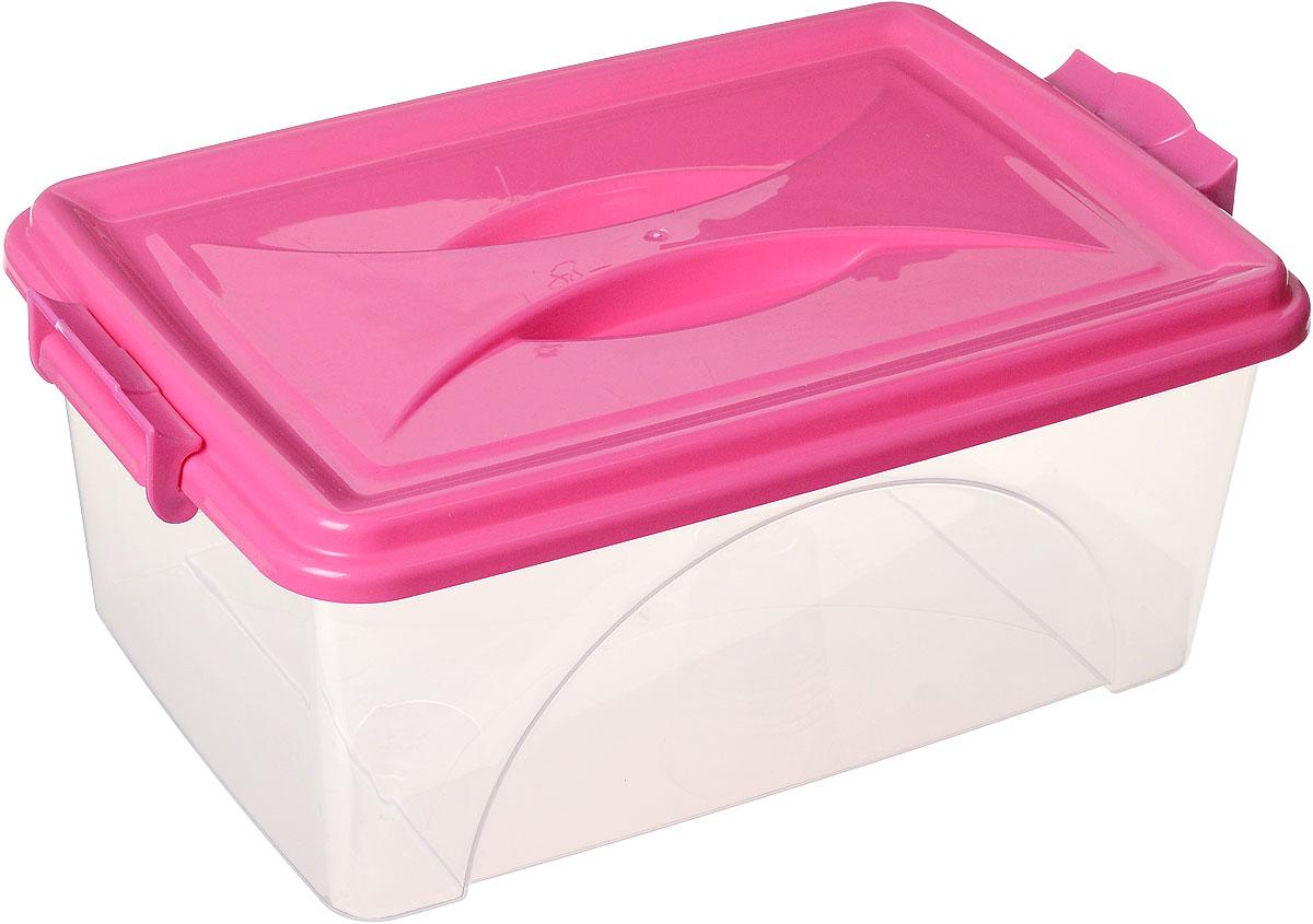 Контейнер Альтернатива, цвет: прозрачный, фуксия, 11,5 лБрелок для ключейКонтейнер Альтернатива выполнен из прочного пластика. Он предназначен для хранения различных мелких вещей. Крышка легко открывается и плотно закрывается. Прозрачные стенки позволяют видеть содержимое. По бокам предусмотрены две удобные ручки, с помощью которых контейнер закрывается.Контейнер поможет хранить все в одном месте, а также защитить вещи от пыли, грязи и влаги.Размер контейнера (с учетом крышки): 42 см х 27 см х 17,5 см.