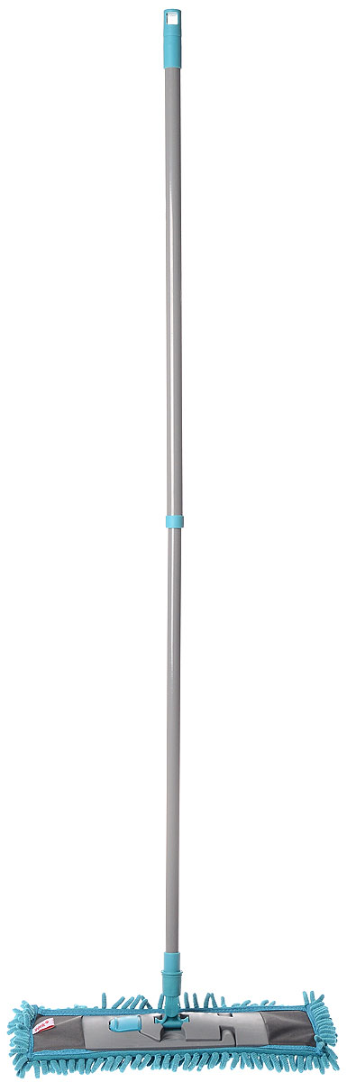 Швабра York Salsa, с рукояткой, цвет: серый, голубой, длина 82 см531-105Швабра York Salsa на плоской пластикой подошве идеально подходит для мытья любых типов напольных покрытий. Плоская насадка, выполненная из микрофибры с крупным ворсом, позволяет быстро и эффективно ухаживать за всеми видами полов. Швабра оснащена металлическим черенком с петлей, которая позволит повесить на крючок в любом удобном для вас месте.Швабра York Salsa обеспечивает высокое качество уборки без применения химии.Длина швабры: 82 см.Размер рабочей части: 41 х 12,5 см.