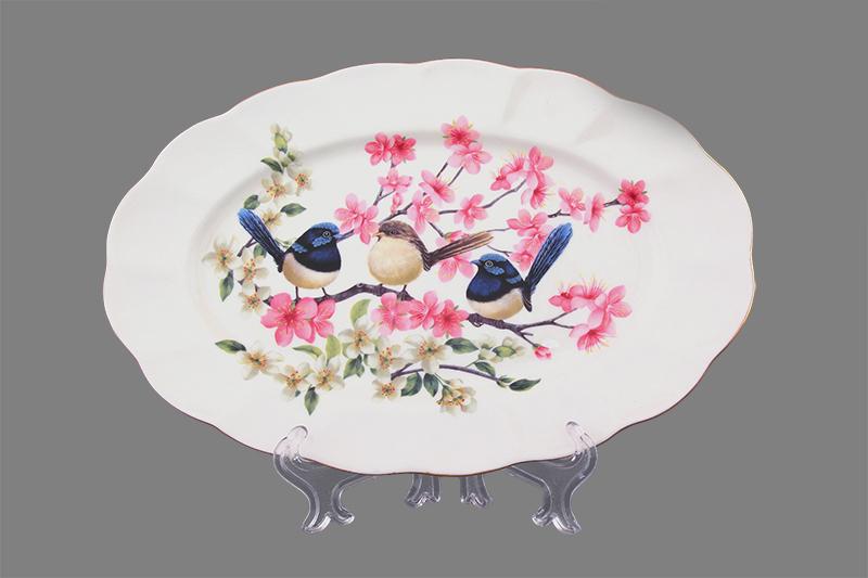 Блюдо Elan Gallery Райские птички, 25 х 16,5 х 2 см115510Овальное блюдо Elan Gallery Райские птички изготовлено из высококачественной керамики и украшено изящным рисунком в виде птичек, сидящих на ветках. Большое овальное блюдо - необходимая вещь при застолье. Вы можете использовать его для закусок, сырной нарезки, колбасных изделий и, конечно, горячих блюд. Изумительное сервировочное блюдо станет изысканным украшением вашего праздничного стола.Изделие упаковано в подарочную упаковку, идеальный подарок для ваших близких!