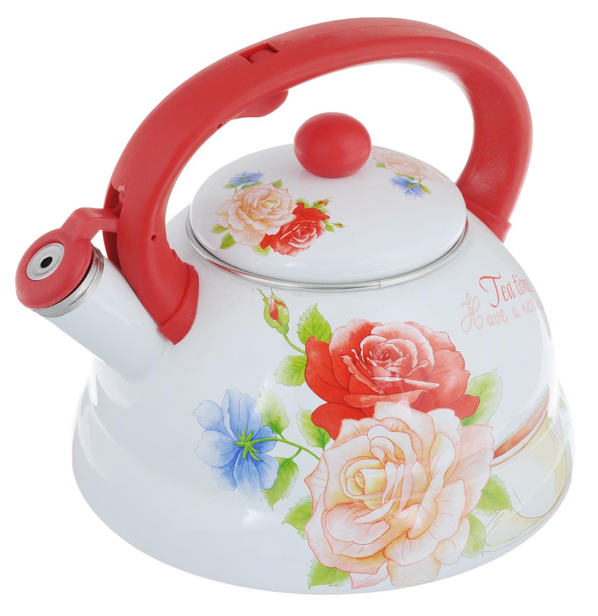 Чайник эмалированный Mayer & Boch Розы, со свистком, 3 л391602Чайник Mayer & Boch Розы выполнен из высококачественной углеродистой стали. Капсулированное дно с прослойкой из алюминия обеспечивает наилучшее распределение тепла. Носик чайника оснащен насадкой-свистком, что позволит вам контролировать процесс подогрева или кипячения воды. Фиксированная бакелитовая ручка дает дополнительное удобство при разлитии напитка. Поверхность чайника гладкая, что облегчает уход за ним.Эстетичный и функциональный, с эксклюзивным дизайном, чайник будет оригинально смотреться в любом интерьере. Подходит для всех типов плит, включая индукционные. Можно мыть в посудомоечной машине.Высота чайника (без учета ручки и крышки): 12 см. Высота чайника (с учетом ручки и крышки): 20 см Диаметр чайника (по верхнему краю): 12 см.