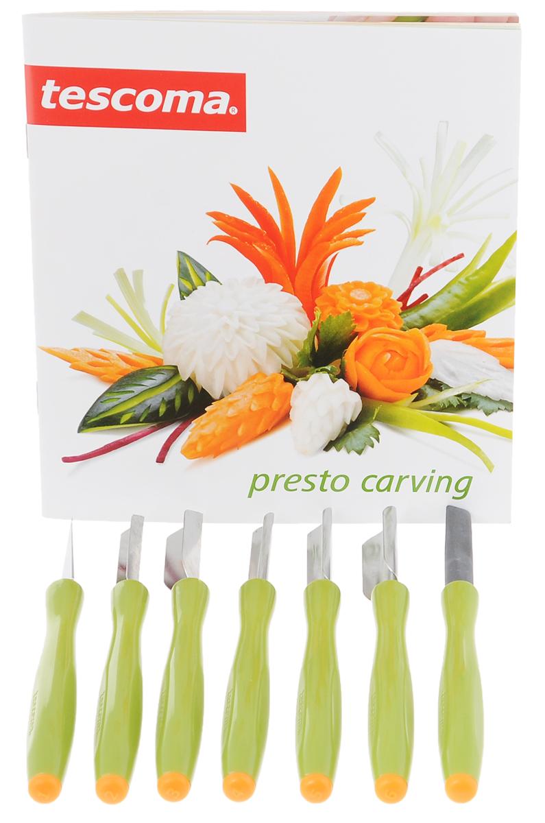 Набор для фигурной нарезки Tescoma Presto Carving, 8 предметов721313Набор Tescoma Presto Carving предназначен для украшения фруктов и овощей: моркови, белой редьки и редиса, огурцов, кабачков, лука-порея, тыквы, яблок, груш, манго, дыни и других.Предметы набора изготовлены из высококачественной нержавеющей стали и прочной пластмассы.В комплект входят 6 специальных ножей, керамический точильный камень и коробка для их безопасного хранения, а также инструкция по применению. Средняя длина инструментов: 14,5 см.