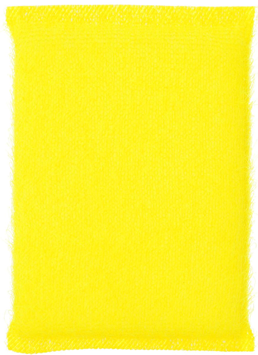 Губка для мытья посуды Home Queen, с металлизированной нитью, цвет: желтый, 120 х 80 х 25 ммK100Губка для мытья посуды Home Queen изготовлена из поролона в ворсистой сетке из полипропиленовой металлизированной нити. Предназначена для мытья посуды и кухонных поверхностей. Удобна в применении. Позволяет экономить моющее средство, благодаря структуре поролона, который дает много пены при использовании.Материал: полипропиленовая металлизированная нить, поролон. Размер губки: 12 см х 9 см х 2 см.