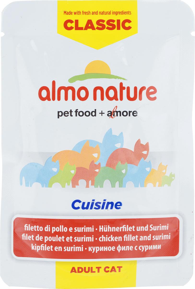 Консервы для взрослых кошек Almo Nature Classic Cuisine, куриное филе с сурими, 55 г0120710Консервы Almo Nature Classic Cuisine - это корм, рекомендованный взрослым кошкам. Угощение изготавливается из свежих и натуральных ингредиентов. Ваш питомец будет в полном восторге!Не содержит сои, консервантов, ароматизаторов, искусственных красителей, усилителей вкуса.Состав: 48% куриное филе, куриный бульон, 4,1% сурими, рис, витамин А (1325 Ul/кг), витамин Е (15 мг/кг), таурин (160 мг/кг). Пищевая ценность в 100г: белки - 13%, жиры - 0,4%, зола - 2%, клетчатка - 0,1%, влага - 82%. Энергетическая ценность: 480 ккал/кг.Товар сертифицирован.