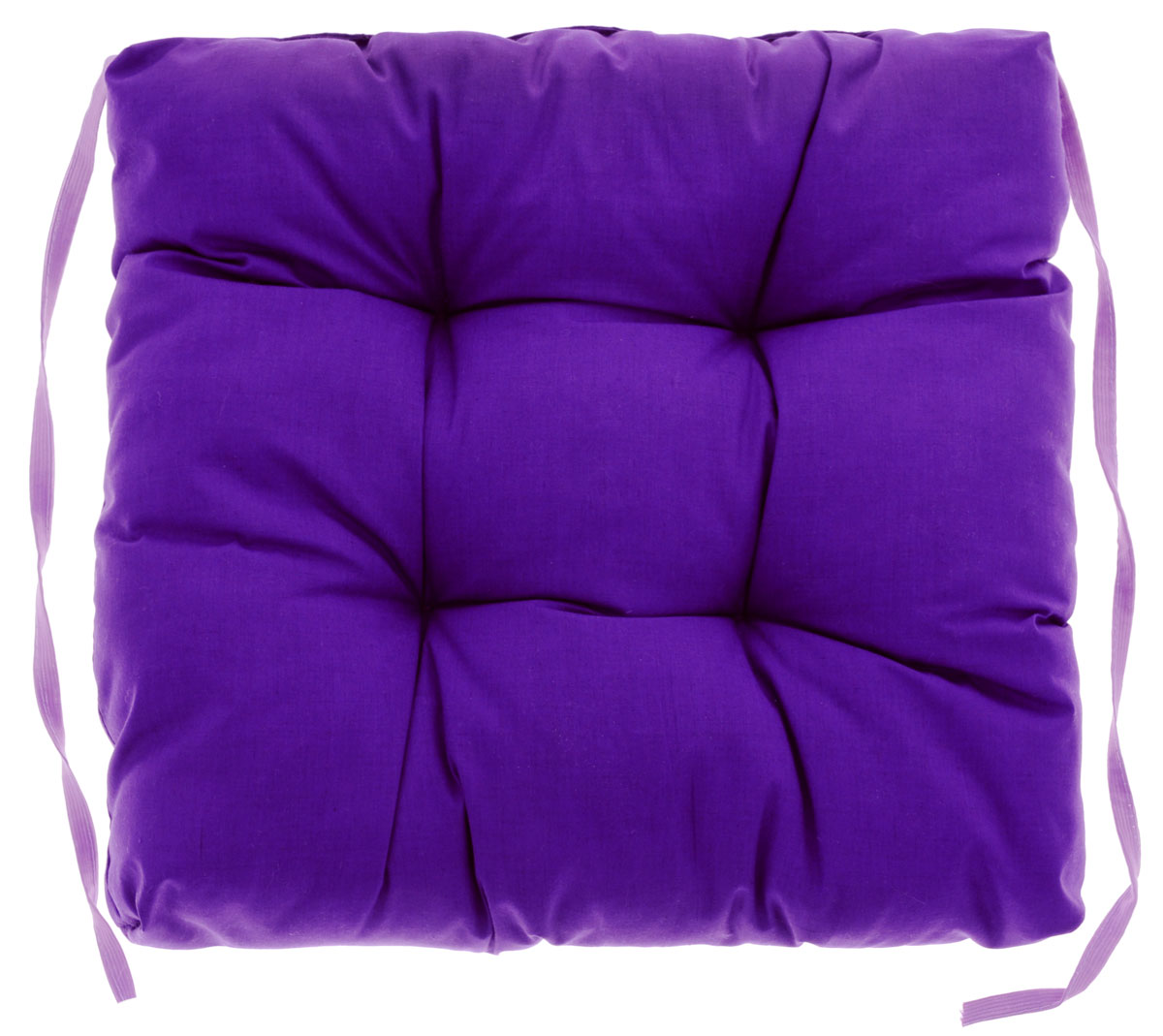 Подушка на стул Eva, объемная, цвет: фиолетовый, 40 см х 40 смVT-1520(SR)Подушка Eva, изготовленная из хлопка, прослужит вам не один десяток лет. Внутри - мягкий наполнитель из полиэстера. Стежка надежно удерживает наполнитель внутри и не позволяет ему скатываться. Подушка легко крепится на стул с помощью завязок. Правильно сидеть - значит сохранить здоровье на долгие годы. Жесткие сидения подвергают наше здоровье опасности. Подушка с наполнителем из полиэстера поможет предотвратить многие беды, которыми грозит сидячий образ жизни.