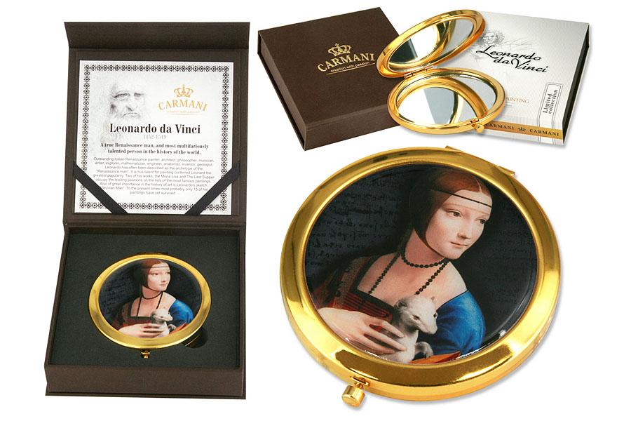 Зеркало карманное Carmani Дама с горностаем (Л. да Винчи)2101-WX-01Зеркало карманное Carmani Дама с горностаем выполнено в круглом металлическом корпусе и декорировано изображением по мотивам работы Леонардо да Винчи.Такое зеркало станет отличным подарком представительнице прекрасного пола, ведь даже самая маленькая дамская сумочка обязательно вместит в себя миниатюрное зеркальце - атрибут каждой модницы. Торговая марка Carmani (Польша) известна с XIX века. Основатель марки, Престон Кармани, принадлежал к высшему свету Европы, известному своими прогрессивными идеями и тягой к искусству. Конкурентными преимуществами марки Carmani является высокое качество продукции и неповторимый дизайн. Процесс разработки нового предмета представляет собой сочетание традиционных методов и современных компьютерных технологий. Стеклянные тарелки и карманные зеркала с изображением прекрасных дам с полотен известных художников выпускаются ограниченным тиражом и имеют коллекционную ценность.