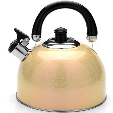 Чайник Mayer & Boch Modern со свистком, цвет: золотистый, 2,7 л. 23595391602Чайник Mayer & Boch Modern выполнен из высококачественной нержавеющей стали, что обеспечивает долговечность использования. Внешнее цветное эмалевоепокрытие придает приятный внешний вид. Подвижная ручка из бакелита делает использование чайника очень удобным и безопасным. Чайник снабжен свистком и устройством для открывания носика.Можно мыть в посудомоечной машине. Пригоден для всех видов плит, включая индукционные.Высота чайника (без учета крышки и ручки): 11,5 см.Диаметр основания: 20 см.