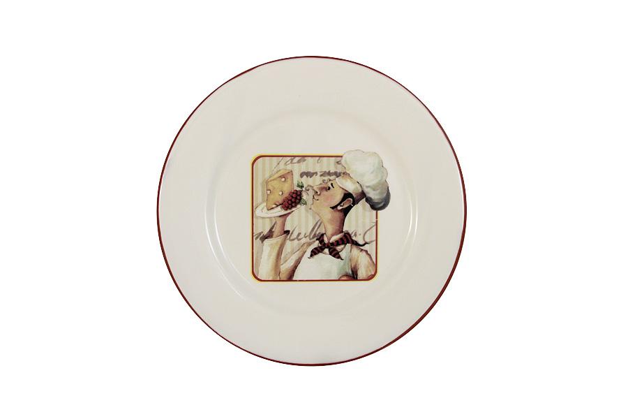 Тарелка закусочная Terracotta Шеф-повар, диаметр 21 см115510Тарелка закусочная Terracotta Шеф-повар выполнена из экологически чистой керамики, отличительной особенностью которой является прочность. Нанесение глазури, не содержащей свинца, придает посуде превосходный блеск. Изделие украшено оригинальным изображением. Такая тарелка отлично подходит для подачи закусок или десертов. Изделие оригинально дополнит сервировку стола и станет практичным приобретением для кухни. Можно использовать в СВЧ и мыть в посудомоечной машине.