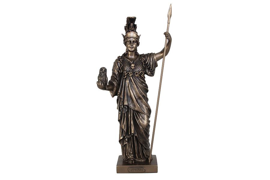 Статуэтка Veronese Афина - греческая богиня, высота 36 смB-YI-01зелДекоративная статуэтка Veronese Афина - греческая богиня изготовлена из полистоуна бронзового цвета. Полистоун представляет собой специальную массу с полимерными связующими материалами, которые абсолютно не токсичны. Изделие выполнено в виде греческой богини Афродиты, держащей в руках сову и копьё.Вы можете поставить статуэтку в любом месте, где она будет удачно смотреться и радовать глаз. Такая фигурка прекрасно дополнит интерьер офиса или дома. Veronese - это торговая марка, представляющая широкий ассортимент художественных изделий из полистоуна, выполненных по эскизам итальянских дизайнеров и художников.
