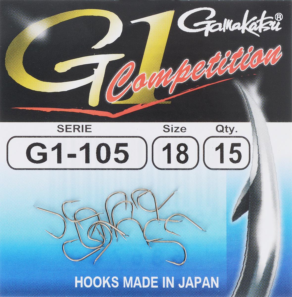 Набор крючков Gamakatsu G-1 Competition, размер №18, 15 шт23411Gamakatsu G-1 Competition - это крючки, прекрасно подходящие для ловли на волосяную оснастку в условиях соревнований. Изделия выполнены из тяжелой проволоки.