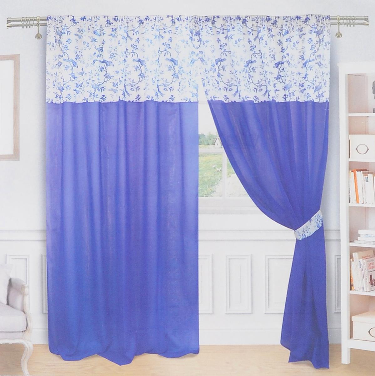 Комплект штор Zlata Korunka, на ленте, цвет: синий, белый, высота 250 см. 55571UN111256660Роскошный комплект Zlata Korunka, выполненный из льна и полиэстера, великолепно украсит любое окно. Комплект состоит из двух портьер и двух подхватов. Плотная ткань и приятная, приглушенная цветовая гамма привлекут к себе внимание и органично впишутся в интерьер помещения. Комплект крепится на карниз при помощи шторной ленты, которая поможет красиво и равномерно задрапировать верх. Портьеры можно зафиксировать в одном положении с помощью двух подхватов. Этот комплект будет долгое время радовать вас и вашу семью! В комплект входит: Портьера: 2 шт. Размер (ШхВ): 180 см х 250 см. Подхват: 2 шт. Размер (ШхВ): 65 см х 9,5 см.