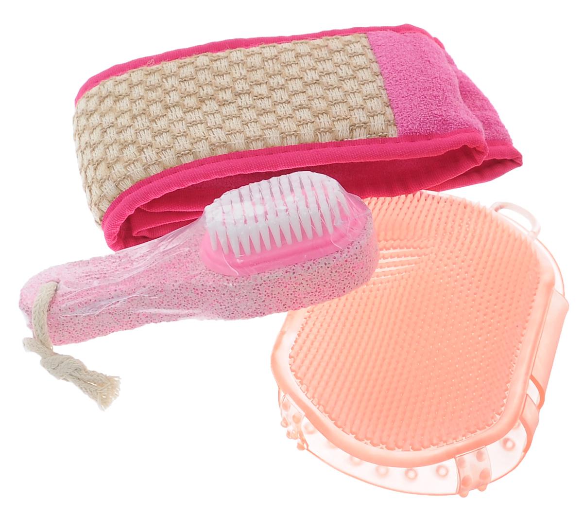 Набор для бани Eva К празднику, 3 предмета787502Набор для бани Eva К празднику включает в себя мочалку, массажер и пемзу. Мочалка выполнена хлопка, рами и ППУ, массажер - высококачественный ПВХ. Мочалка выравнивает текстуры кожи и очищает поры. Пемза обеспечивает уход за кожей ног. Мочалка позволяет расслабиться и избавиться от целлюлита.Такой набор поможет с удовольствием и пользой провести время в бане, а также станет чудесным подарком друзьям и знакомым, которые по достоинству оценят его при первом же использовании.Размер мочалки: 70 см х 10 см.Размер массажера: 15,5 см х 9,5 см.Размер пемзы: 14 см х 4,5 см х 3,5 см.