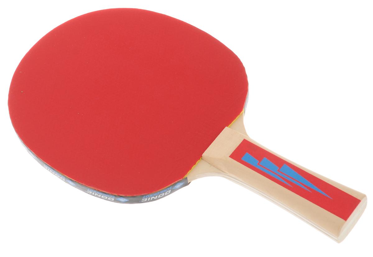 Ракетка для настольного тенниса Donic Appelgren 4003B327Ракетка Donic Appelgren 400 предназначена для игры в настольный теннис для любителей и игроков начального уровня. Ракетка выполнена из дерева, накладка из резины. Имеет пятислойное основание. Обладает превосходными характеристиками контроля. Одобрено ITTF.Размер ракетки: 15 см х 26 см.Толщина губки: 1 мм.Длина ручки: 10 см.