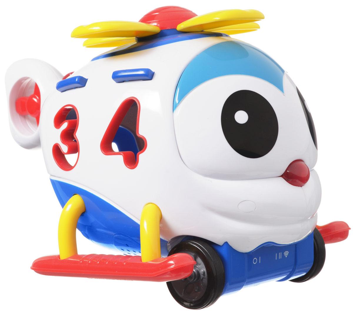 """Развивающая игрушка Learning Journey """"Умный вертолетик"""" - это многофункциональное устройство на дистанционном управлении, которое обязательно понравится вашему малышу. Вертолетик может работать в 3-х режимах - как сортер, как развивающая и как дистанционно управляемая игрушка. Малыш познакомится с цифрами и цветами, разовьет свои логические и моторные навыки. Вертолетик издает забавные звуки и проигрывает веселые мелодии, его колесики вращаются, а забавный носик загорается. Движение вперед и назад, функция автоматического выключения, удобный отсек для хранения цифр. В комплекте: вертолетик, пульт управления, 4 цифры. Игрушка разработана для детей от полутора лет. Для работы игрушки необходимы 3 батарейки типа АА (не входят в комплект). Для работы пульта управления необходимы 2 батарейки типа АА (не входят в комплект)."""