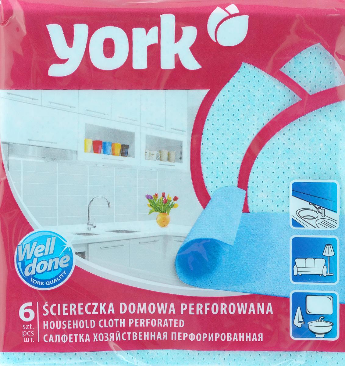 Салфетка перфорированная York, цвет: голубой, 34 х 35 см, 6 штVCA-00Перфорированная салфетка York предназначена для мытья, протирания и полировки. Салфетка выполнена из вискозы с добавлением полипропиленового волокна, отличается высокой прочностью. Благодаря перфорации хорошо поглощает влагу. Идеальна для ухода за столешницами на кухне. Может использоваться в сухом и влажном виде.