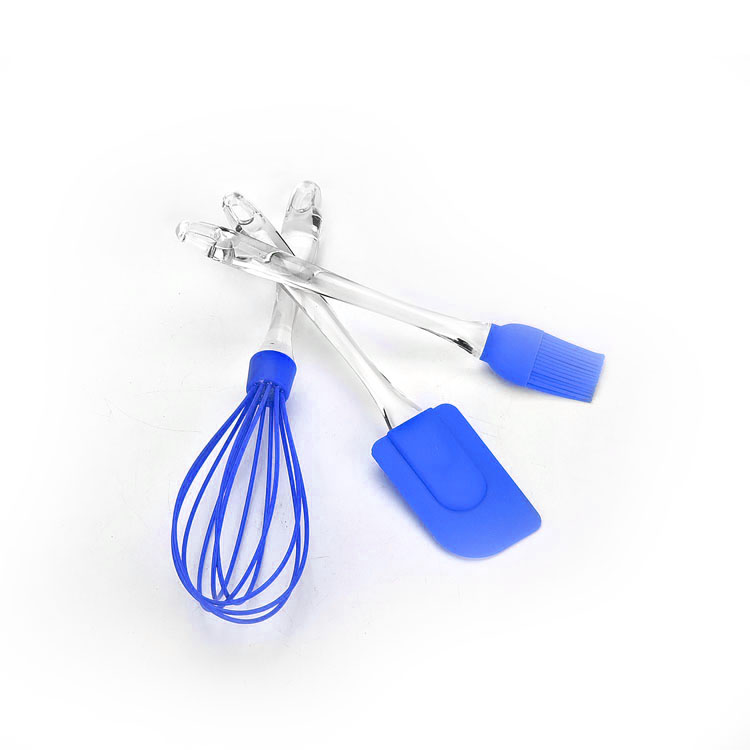 Набор приспособлений для выпечки Mayer & Boch, цвет: синий, 3 предмета94672Набор приспособлений для выпечки Mayer & Boch состоит из венчика, лопатки и кулинарной кисти. Рабочая поверхность изделий выполнена из силикона, который выдерживает температуру от -40 до +210°С. Рукоятки приборов изготовлены из прозрачного пластика и снабжены отверстиями для подвешивания на крючок. Такой набор станет полезным приобретением для всех хозяек и поможет в приготовлении выпечки. Длина венчика: 30 см. Длина рабочей поверхности венчика: 14 см. Длина лопатки: 25 см. Размер рабочей поверхности лопатки: 8 см х 5 см. Длина кисти: 22,5 см. Длина ворса кисти: 3,5 см.