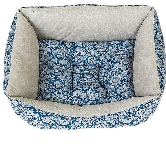 Лежак для животных Happy Puppy Ампир-2, цвет: белый, синий, 42 x 35 x 13 см