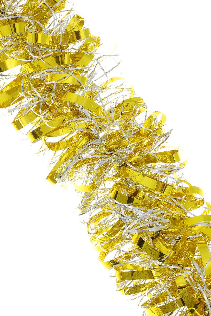 Мишура новогодняя Sima-land, цвет: серебристый, желтый, диаметр 8 см, длина 200 см. 702580IRK-503Мишура новогодняя Sima-land, выполненная из двухцветной фольги, поможет вам украсить свой дом к предстоящим праздникам. Мишура армирована, то есть имеет проволоку внутри и способна сохранять приданную ей форму.Новогодняя елка с таким украшением станет еще наряднее. Новогодней мишурой можно украсить все, что угодно - елку, квартиру, дачу, офис - как внутри, так и снаружи. Можно сложить новогодние поздравления, буквы и цифры, мишурой можно украсить и дополнить гирлянды, можно выделить дверные колонны, оплести дверные проемы. Коллекция декоративных украшений из серии Зимнее волшебство принесет в ваш дом ни с чем не сравнимое ощущение праздника! Создайте в своем доме атмосферу тепла, веселья и радости, украшая его всей семьей.