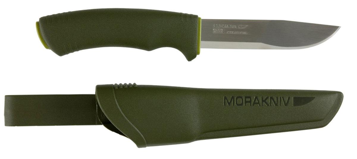 Нож Morakniv Bushcraft, цвет: болотный, длина лезвия 10,5 см12493Нож Morakniv Bushcraft станет незаменимым помощником грибника, охотника или просто человека, любящего активный отдых. Клинок выполнен из высококачественной холоднокатной нержавеющей стали Sandvik. Ручка, выполненная из мягкого пластика, обеспечивает надежный хват и не выскальзывает даже из мокрой руки. Нож комплектуется ножнами с креплением к поясу.Общая длина ножа: 23,2 см.