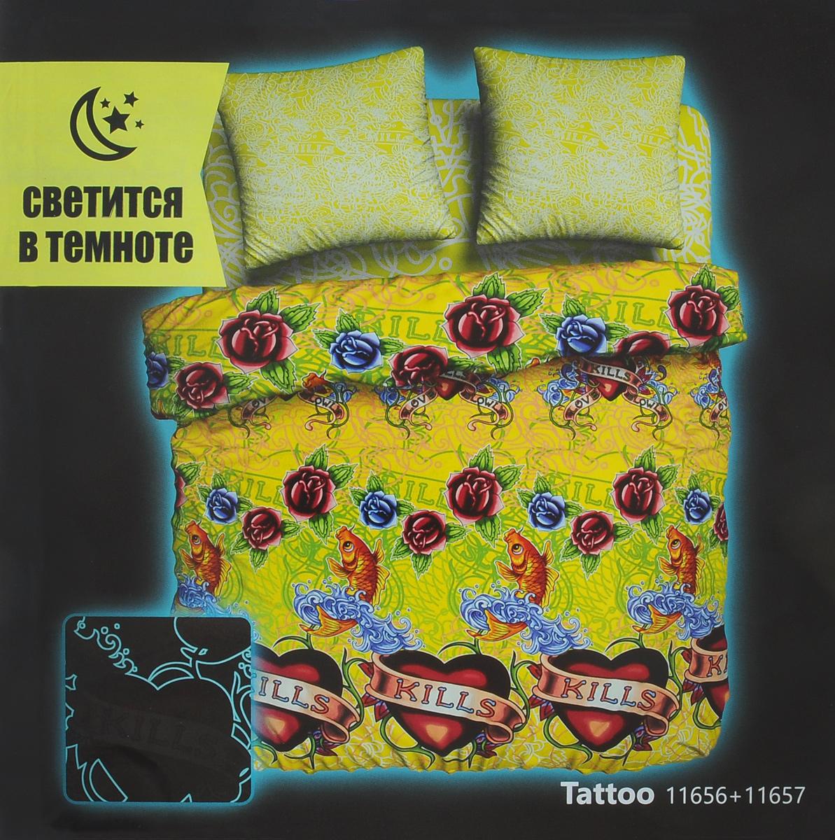 Комплект белья Unison Tattoo, 1,5-спальный, наволочки 70х70, цвет: лимонный, салатовый, малиновый. 268373K100Оригинальный комплект постельного белья Unison Tattoo из серии Neon Collection выполнен из биоматина, натуральной 100% хлопковой ткани, которая имеет свойство, светится в темноте. Постельное белье светится в темноте без помощи ультрафиолета. Заряжается комплект от любого источника света, что позволяет святиться в темноте продолжительное время. Комплект оформлен оригинальным рисунком, который имеет потенциал свечения до 8 часов с эффектом угасания. Ткань приятная на ощупь, при этом она прочная, хорошо сохраняет форму и легко гладится. Комплект состоит из пододеяльника, простыни и двух наволочек. Используемые красители безопасны для человека и животных. Благодаря такому комплекту постельного белья вы создадите неповторимую атмосферу в вашей спальне. Рекомендуется стирать в стиральной машине в мешке в режиме деликатной стирки, при температуре до +40°C, предварительно вывернув комплект наизнанку.