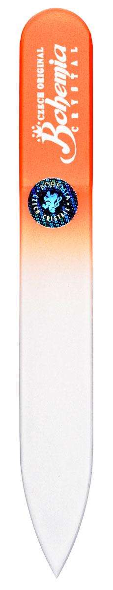 Bohemia Пилочка для ногтей, стеклянная, чехол из мягкого пластика, цвет: оранжевый. cz233-0902вcz233-1402в_розовыйBohemia Пилочка для ногтей, стеклянная, чехол из мягкого пластика, цвет: оранжевый