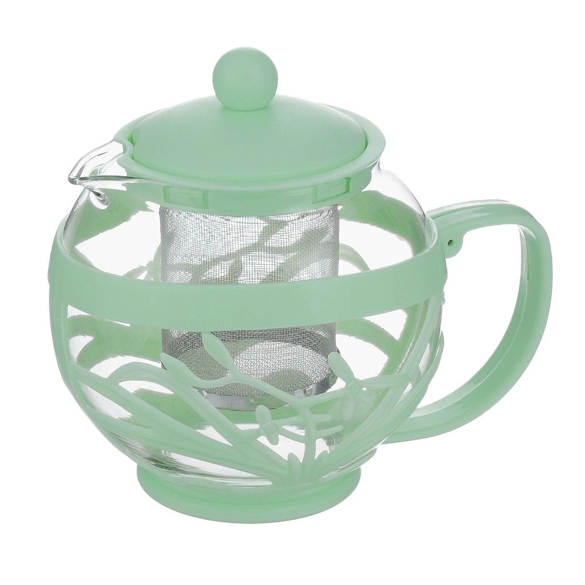 Чайник заварочный Menu Мелисса, с фильтром, цвет: прозрачный, светло-бирюзовый, 750 мл54 009312Чайник Menu Мелисса изготовлен из прочного стекла и пластика. Он прекрасно подойдет для заваривания чая и травяных напитков. Классический стиль и оптимальный объем делают его удобным и оригинальным аксессуаром. Изделие имеет удлиненный металлический фильтр, который обеспечивает высокое качество фильтрации напитка и позволяет заварить чай даже при небольшом уровне воды. Ручка чайника не нагревается и обеспечивает безопасность использования. Нельзя мыть в посудомоечной машине. Диаметр чайника (по верхнему краю): 8 см.Высота чайника (без учета крышки): 11 см.Размер фильтра: 6 х 6 х 7,2 см.
