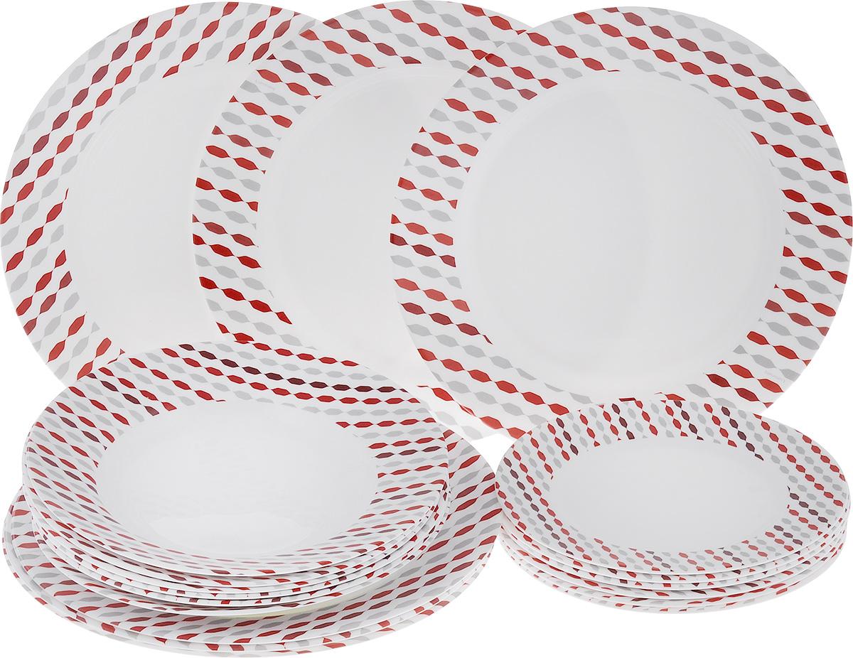 Набор тарелок Luminarc Sixties, 18 шт115510Набор Luminarc Sixties состоит из 6 суповых тарелок, 6 обеденных тарелок и 6 десертных тарелок. Изделия выполнены из ударопрочного стекла, имеют яркий дизайн и классическую круглую форму. Посуда отличается прочностью, гигиеничностью и долгим сроком службы, она устойчива к появлению царапин и резким перепадам температур. Такой набор прекрасно подойдет как для повседневного использования, так и для праздников. Набор тарелок Luminarc Sixties - это не только яркий и полезный подарок для родных и близких, а также великолепное дизайнерское решение для вашей кухни или столовой. Можно мыть в посудомоечной машине и использовать в микроволновой печи. Диаметр суповой тарелки (по верхнему краю): 22 см. Высота суповой тарелки: 3,2 см.Диаметр обеденной тарелки (по верхнему краю): 26,5 см. Высота обеденной тарелки: 2,3 см. Диаметр десертной тарелки (по верхнему краю): 19 см. Высота десертной тарелки: 1,5 см.