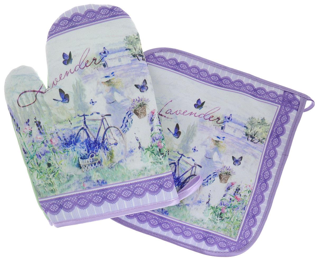 Набор для кухни GiftnHome Лаванда, цвет: фиолетовый, зеленый, 2 предметаSТЕХ-04Набор для кухни GiftnHome Лаванда состоит из рукавицы и прихватки. Изделия оснащены петелькой для подвешивания. Предметы набора выполнены из атласа (искусственного шелка) и полиэстера и оформлены красочным изображением. Такой набор оригинально украсит интерьер и будет уместен на любой кухне. Прекрасно подойдет в качестве подарка, который окажется не только приятным, но и полезным в хозяйстве.Размер рукавицы: 24,5 см х 16,5 см х 2 см.Размер прихватки: 21 см х 21 см.