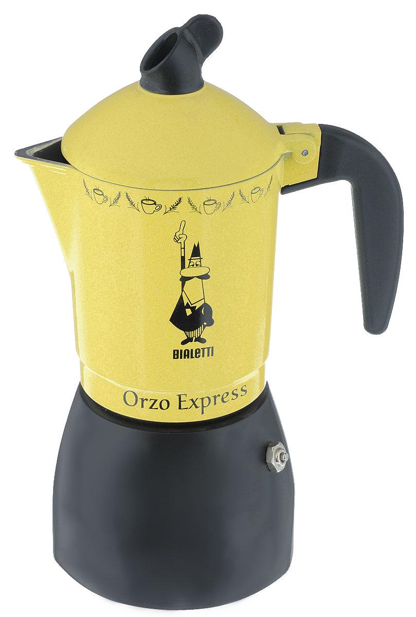 Кофеварка гейзерная Bialetti Orzo Express Gialla MR, для желудевого кофе, на 4 чашки115510Компактная гейзерная кофеварка Bialetti Orzo Express Gialla MR изготовлена из высококачественного алюминия. Объема кофе хватает на 4 чашки. Изделие оснащено удобной ручкой из бакелита.Принцип работы такой гейзерной кофеварки - кофе заваривается путем многократного прохождения горячей воды или пара через слой молотого кофе. Удобство кофеварки в том, что вся кофейная гуща остается во внутренней емкости. Гейзерные кофеварки пользуются большой популярностью благодаря изысканному аромату. Кофе получается крепкий и насыщенный. Теперь и дома вы сможете насладиться великолепным эспрессо. Подходит для газовых, электрических и стеклокерамических плит. Нельзя мыть в посудомоечной машине. Высота (с учетом крышки): 23 см.
